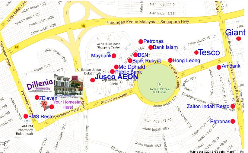 homestay near legoland-Dillenia Homestay Map