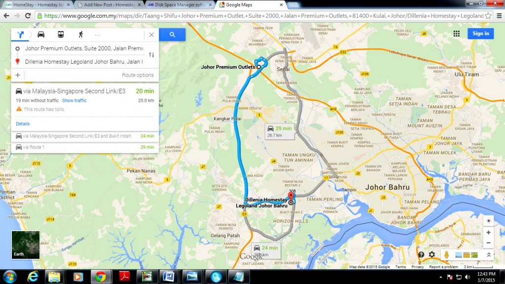Maps direction jpo to homestay lego