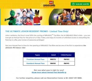 Promo Annual Pass Legoland utk Orang Johor