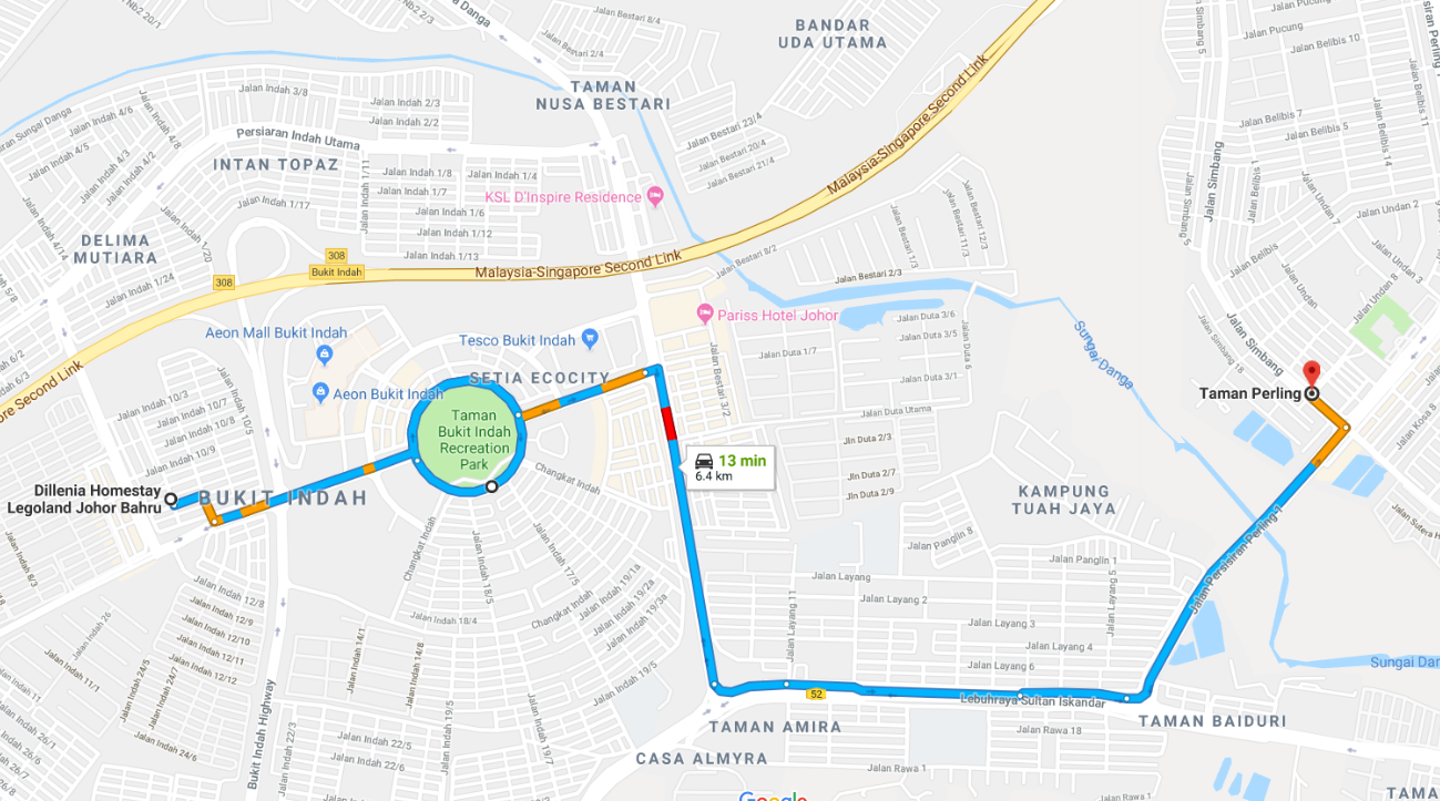 Dillenia Homestay-Bukit Indah to Taman Perling-map